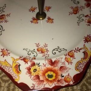 noritake Dining - Noritake hand painted dish with brass handle